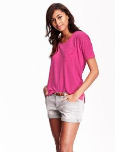 Picture of woman wearing bright pink shirt