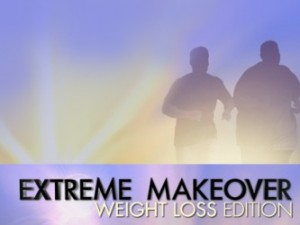 Two silhouettes running with the words Extreme Makeover Weightloss Edition written below them.