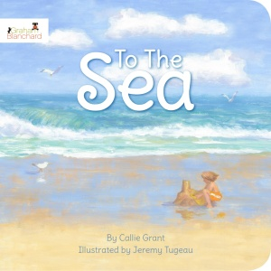 Book cover with an ocean scene and a boy in the sand. The title of the book is in white letters at the top of the page.